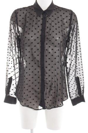 Zara Woman Langarm-Bluse schwarz Punktemuster Casual-Look