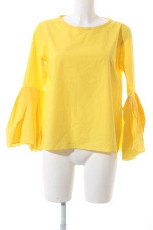 Zara Woman Langarm-Bluse gelb Urban-Look