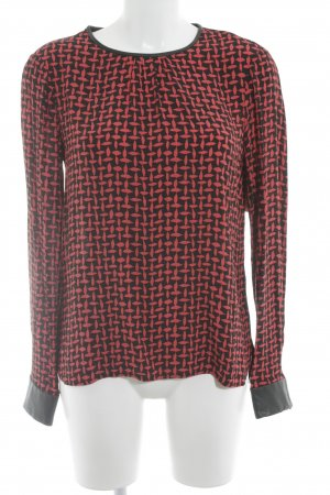 Zara Woman Langarm-Bluse hellrot-schwarz abstraktes Muster Business-Look