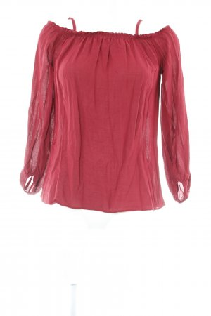 Zara Woman Langarm-Bluse karminrot Casual-Look