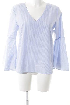 Zara Woman Langarm-Bluse kornblumenblau-weiß Streifenmuster Beach-Look