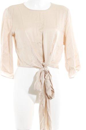 Zara Woman Langarm-Bluse nude Glanz-Optik