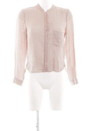Zara Woman Langarm-Bluse pink-schwarz Allover-Druck Business-Look