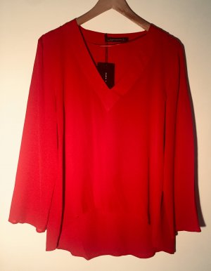 Zara Woman Langarm-Bluse rot Elegant, neu mit Etikett