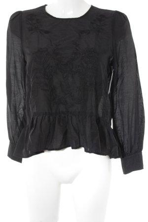 Zara Woman Langarm-Bluse schwarz Blumenmuster Romantik-Look