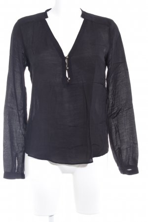 Zara Woman Blouse à manches longues noir style classique