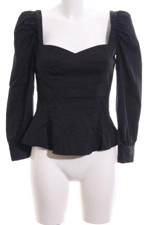 Zara Woman Langarm-Bluse schwarz Retro-Look