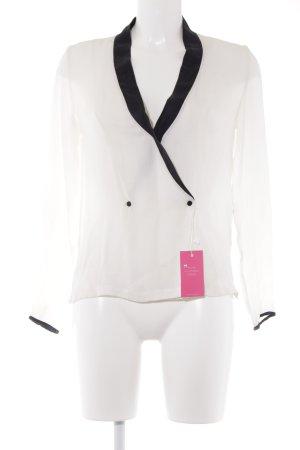 Zara Woman Blouse à manches longues noir-blanc cassé style d'affaires