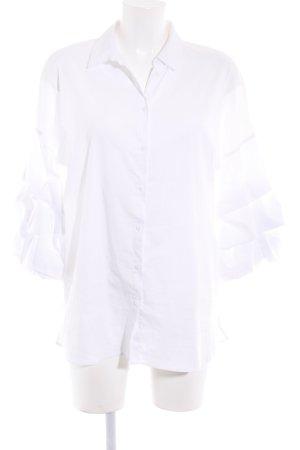 Zara Woman Langarm-Bluse weiß extravaganter Stil