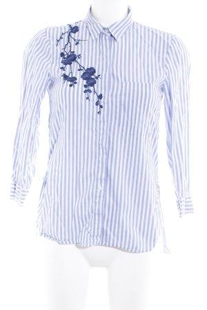 Zara Woman Langarm-Bluse weiß-himmelblau Streifenmuster Casual-Look