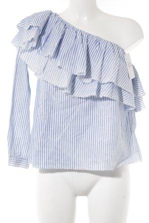 Zara Woman Langarm-Bluse weiß-kornblumenblau Streifenmuster Casual-Look