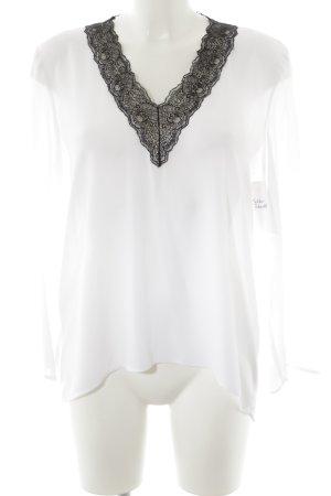 Zara Woman Langarm-Bluse weiß-schwarz Business-Look