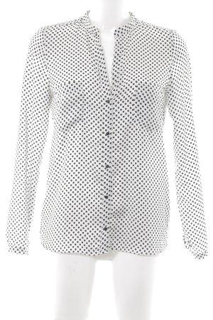 Zara Woman Langarm-Bluse weiß-schwarz Punktemuster Casual-Look