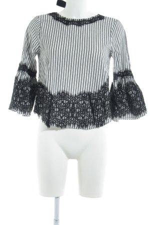 Zara Woman Blusa de manga larga blanco-negro estampado a rayas
