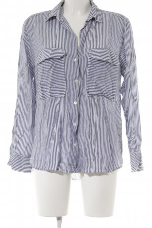Zara Woman Langarm-Bluse wollweiß-kornblumenblau Streifenmuster Casual-Look