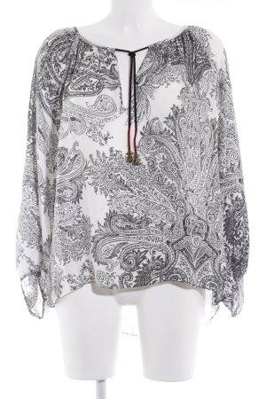 Zara Woman Langarm-Bluse wollweiß-schwarz Paisleymuster Casual-Look
