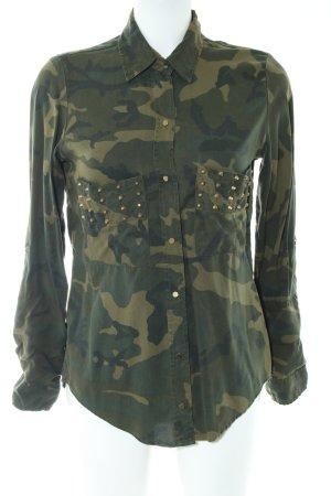 Zara Woman Langarmhemd khaki Camouflagemuster Casual-Look