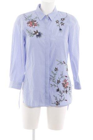 Zara Woman Langarmhemd blau-weiß Blumenmuster Casual-Look