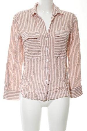 Zara Woman Camisa de manga larga blanco puro-marrón estampado a rayas