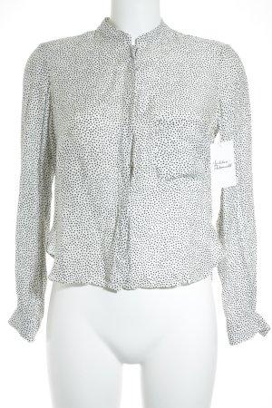 Zara Woman Langarmhemd weiß-schwarz Punktemuster Casual-Look