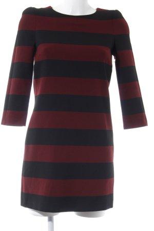 Zara Woman Langarmkleid schwarz-bordeauxrot Streifenmuster Casual-Look