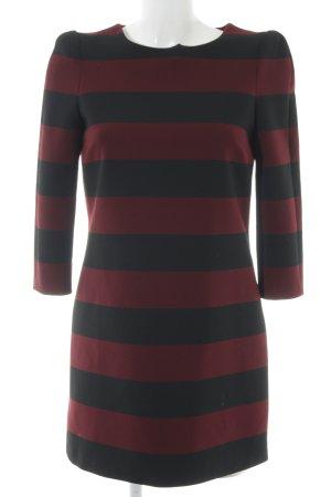 Zara Woman Langarmkleid schwarz-bordeauxrot Streifenmuster schlichter Stil
