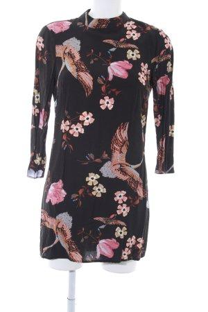Zara Woman Langarmkleid schwarz florales Muster Elegant