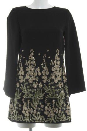 Zara Woman Langarmkleid schwarz-goldfarben abstraktes Muster Elegant