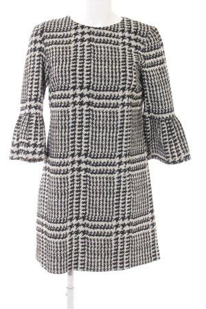 Zara Woman Langarmkleid schwarz-hellbeige Glencheckmuster klassischer Stil