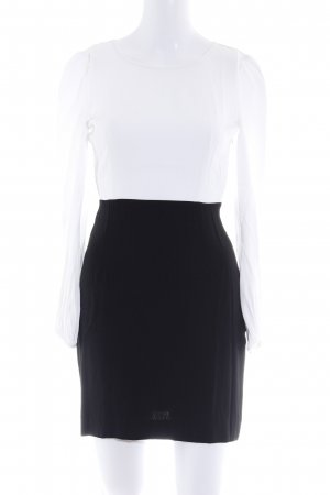 Zara Woman Langarmkleid schwarz-weiß Business-Look