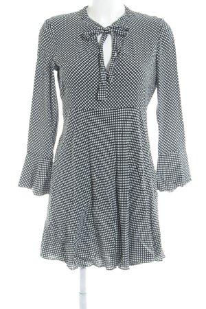 52705723bd32c7 Zara Woman Jurk met lange mouwen zwart-wit gestippeld patroon casual  uitstraling