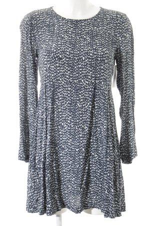 Zara Woman Langarmkleid weiß-dunkelblau abstraktes Muster klassischer Stil