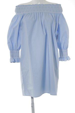 Zara Woman Langarmkleid weiß-himmelblau Casual-Look