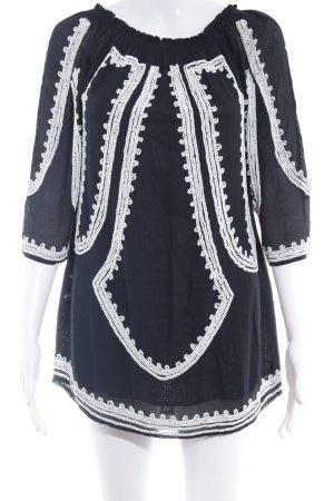 Zara Woman Langarmkleid weiß-schwarz abstraktes Muster Boho-Look