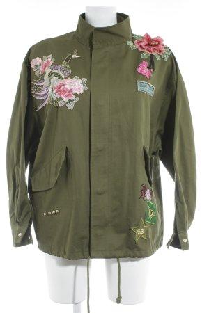 Zara Woman Lange Jacke khaki florales Muster Street-Fashion-Look
