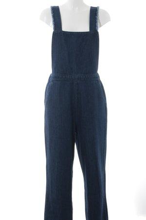 Zara Woman Vaquero tipo peto azul oscuro look casual