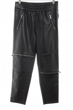 Zara Woman Leather Trousers black extravagant style