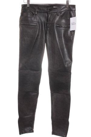 Zara Woman Lederhose dunkelbraun Casual-Look