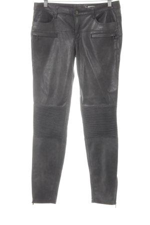 Zara Woman Lederhose graubraun Biker-Look