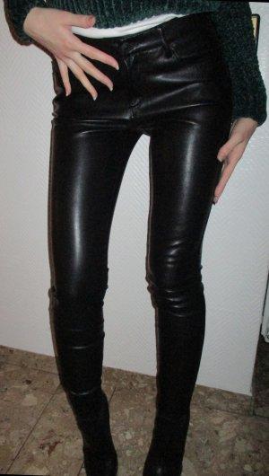 ZARA WOMAN Lederhose Hose Leder Imitat Röhre Biker Hose lang schwarz 5 Pocket Größe EUR S 36 ggfls. auch 34 WIE NEU ! top1