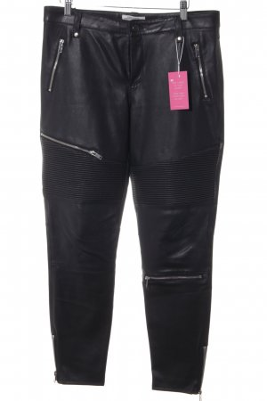 Zara Woman Leather Trousers black biker look