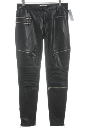 Zara Woman Leren broek zwart Biker-look