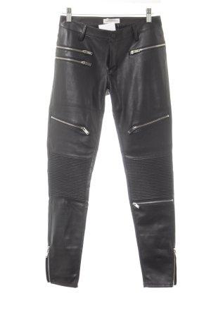 Zara Woman Pantalón de cuero negro Estilo ciclista