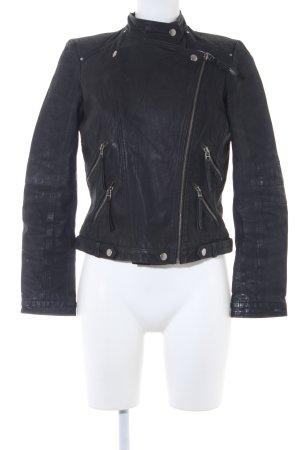 Zara Woman Lederjacke schwarz Biker-Look