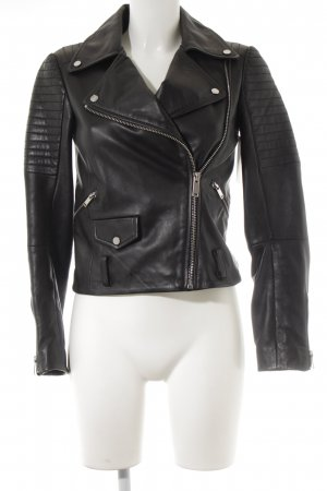 Zara Woman Lederjacke schwarz Street-Fashion-Look