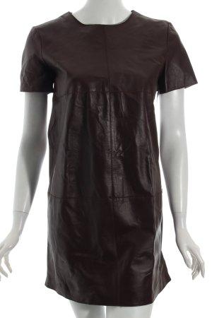 Zara Woman Leren jurk bordeaux feest stijl