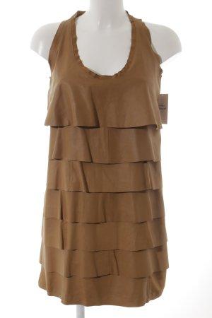 Zara Woman Leren jurk camel extravagante stijl