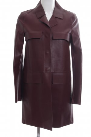 Zara Woman Leather Coat red business style