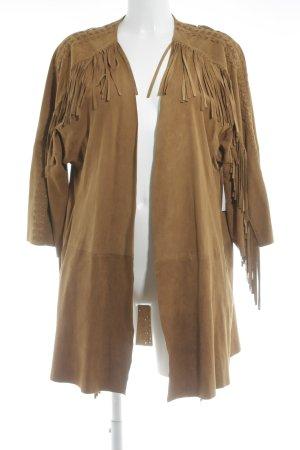 Zara Woman Manteau en cuir brun style Boho