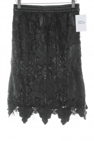Zara Woman Lederrock schwarz florales Muster Elegant